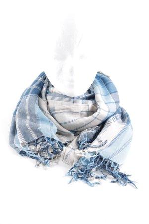 Esprit Fransenschal weiß-blau Karomuster Casual-Look