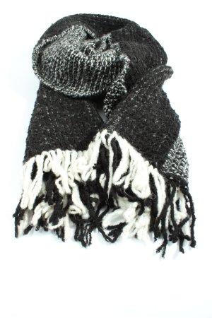 Esprit Bufanda de flecos negro-blanco moteado look casual