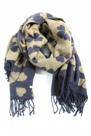 Esprit Fringed Scarf natural white-blue allover print casual look