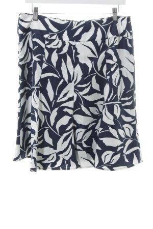 Esprit Glockenrock dunkelblau-weiß abstraktes Muster schlichter Stil