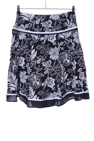 Esprit Jupe évasée noir-blanc motif de fleur style décontracté