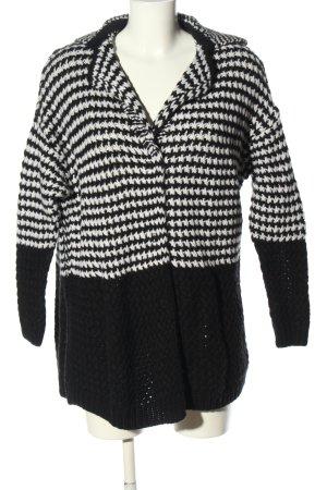 Esprit Cardigan a maglia grossa nero-bianco motivo a righe stile casual