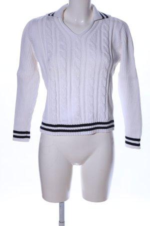 Esprit Grobstrickpullover weiß-schwarz Zopfmuster Casual-Look