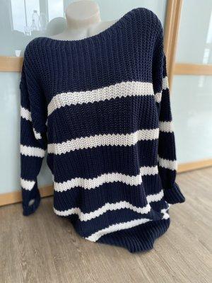 Esprit Größe M Oversized Pullover Strick blau weiß maritim top 38 40 42