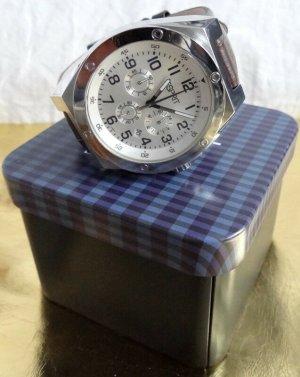 Esprit - große markante Armbanduhr - braunes Lederarmband - neu
