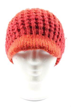 Esprit Crochet Cap red-light orange cable stitch casual look