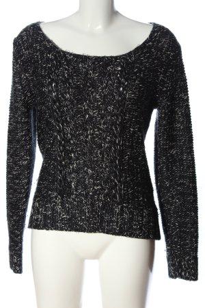 Esprit Häkelpullover schwarz-weiß Zopfmuster Casual-Look