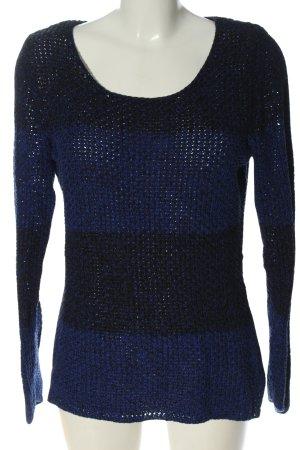 Esprit Häkelpullover blau-schwarz Casual-Look