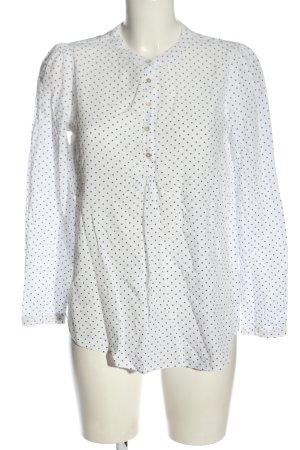 Esprit Hemd-Bluse weiß-blau Allover-Druck Elegant