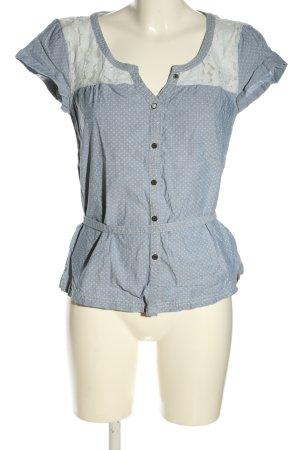 Esprit Hemd-Bluse blau-weiß Allover-Druck Casual-Look