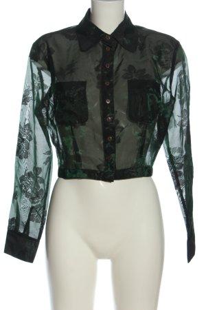 Esprit Hemd-Bluse schwarz-grün Allover-Druck Casual-Look