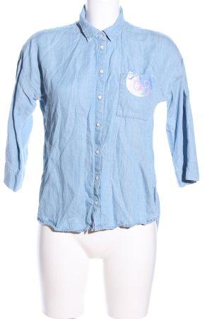 Esprit Hemd-Bluse blau Schriftzug gedruckt Casual-Look