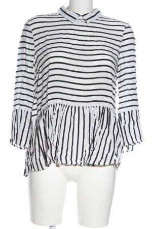 Esprit Hemd-Bluse weiß-schwarz Streifenmuster Casual-Look