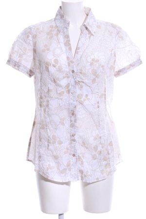 Esprit Hemd-Bluse weiß-nude Blumenmuster Casual-Look