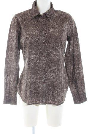 Esprit Hemd-Bluse braun-wollweiß Blumenmuster Casual-Look