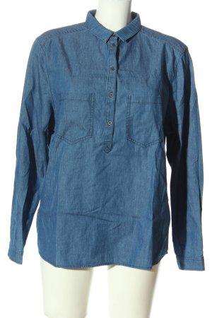 Esprit Hemd-Bluse blau Webmuster Casual-Look