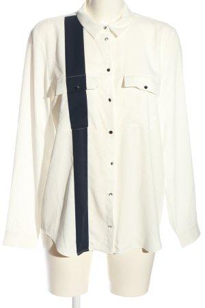Esprit Hemd-Bluse wollweiß-schwarz Streifenmuster Elegant