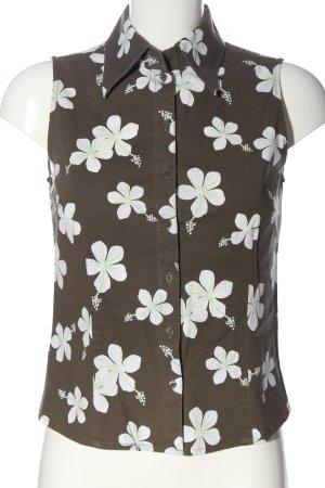 Esprit Hemd-Bluse braun-weiß Allover-Druck Casual-Look