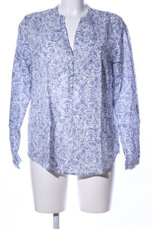 Esprit Hemd-Bluse weiß-blau abstraktes Muster Casual-Look