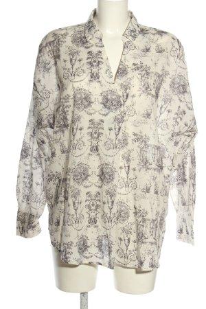 Esprit Hemd-Bluse wollweiß-hellgrau abstraktes Muster Casual-Look