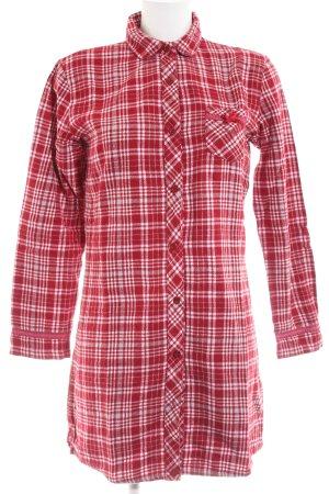 Esprit Hemdblusenkleid rot-weiß Allover-Druck Casual-Look