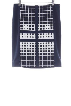 Esprit Falda de talle alto blanco-azul oscuro estampado a cuadros elegante