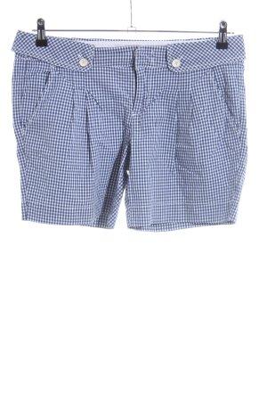 Esprit High-Waist-Shorts blau-weiß Karomuster Casual-Look