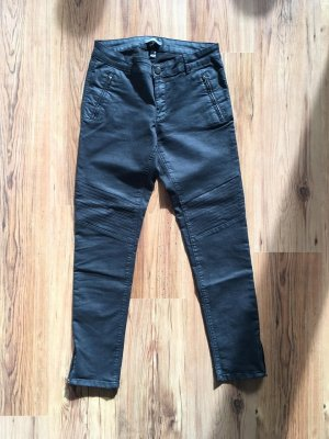 Esprit Hose Jeans Leather Fake Lederhose Röhre Bikerhose Zipper Schwarz 38