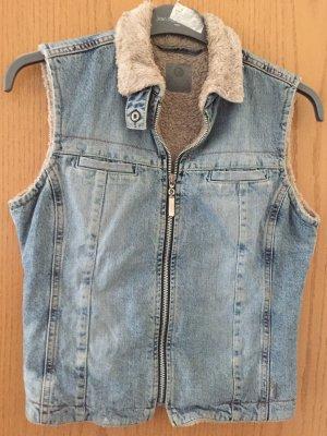 Esprit Gilet en jean bleu pâle coton