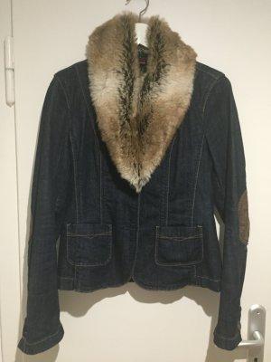 Esprit Jeansblazer mit abnehmbaren Kunstfellkragen - Größe 36