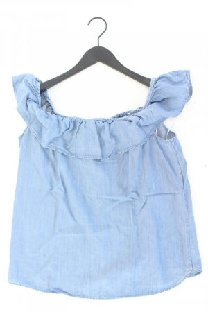 Esprit Jeansbluse Größe L Ärmellos mit Carmen-Ausschnitt blau aus Lyocell