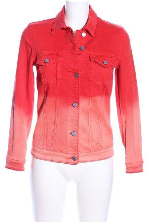 Esprit Jeansjacke rot-creme Farbverlauf Casual-Look