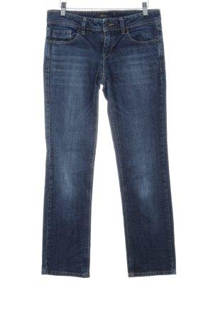 Esprit Jeansschlaghose dunkelblau-stahlblau meliert Logo-Applikation aus Leder