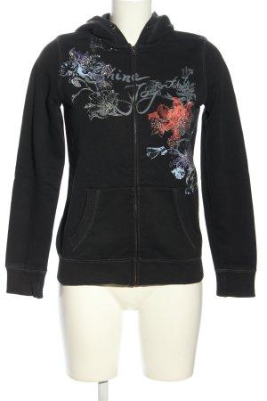 Esprit Kapuzenjacke schwarz-hellorange Blumenmuster sportlicher Stil