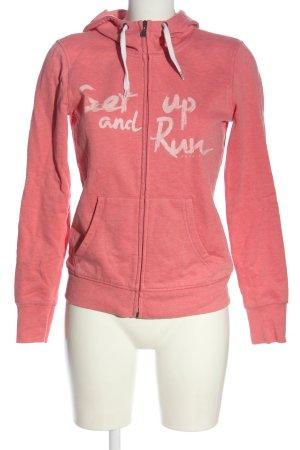 Esprit Kapuzensweatshirt pink-weiß Schriftzug gedruckt Casual-Look
