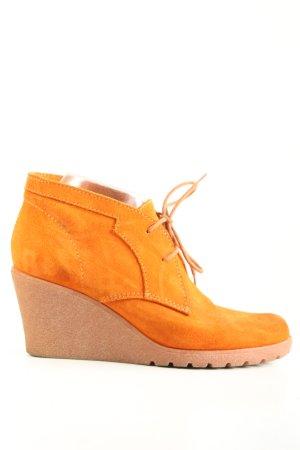 Esprit Bottine à talon compensé orange clair style décontracté