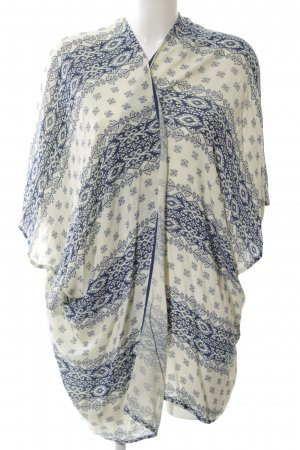 Esprit Kimono blau-wollweiß abstraktes Muster Casual-Look