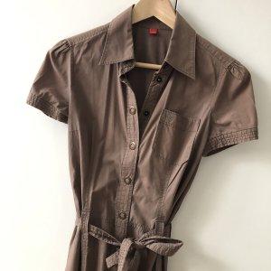 Esprit Kleid Gr 34 braun beige Hemdbluse Blusenkleid Midikleid