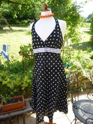 Esprit Kleid Neckholderkleid Punkte Schwarz Weiß Gr. 38