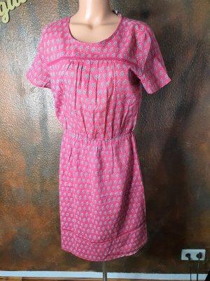Esprit Kleid pink Leinen kurzarm leicht transparent S