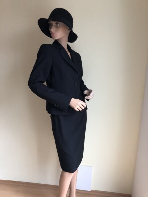 Esprit Kostüm Blazer Rock Hose 34 schwarz Business 3 Teile Anzug