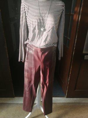 esprit collection Pantalon en cuir rouge carmin-bordeau
