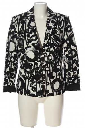 Esprit Kurz-Blazer weiß-schwarz abstraktes Muster Casual-Look