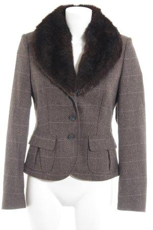 Esprit Short Blazer dark brown-pink check pattern business style