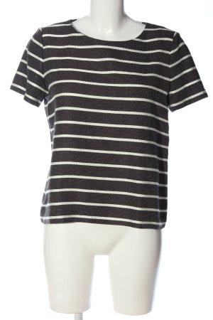 Esprit Kurzarm-Bluse schwarz-weiß Streifenmuster Casual-Look