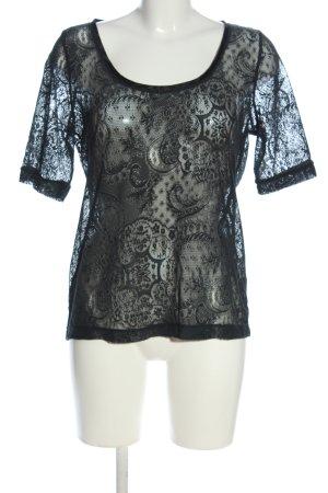 Esprit Kurzarm-Bluse schwarz grafisches Muster Casual-Look