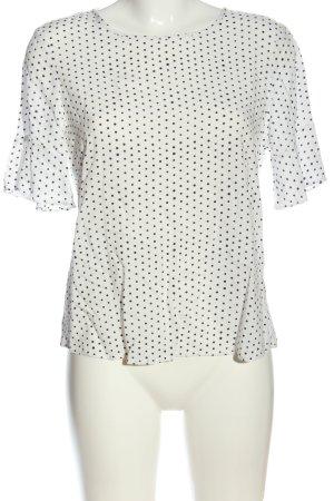 Esprit Kurzarm-Bluse weiß-schwarz Allover-Druck Casual-Look