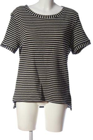 Esprit Kurzarm-Bluse schwarz-wollweiß Streifenmuster Casual-Look