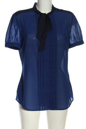 Esprit Kurzarm-Bluse blau-schwarz Elegant