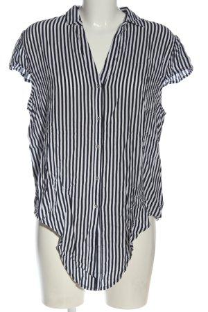 Esprit Kurzarm-Bluse schwarz-weiß Streifenmuster Elegant